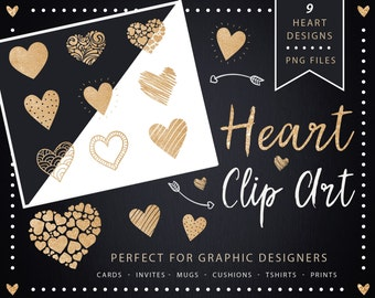 Golden Glitter Heart Clip Art, Heart Clipart, Gold Glitter Heart, Heart Digital art, Heart Clipart Design Elements, Glitter Gold Hearts Pngs