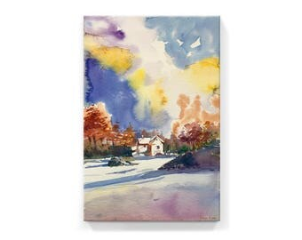 A Sunny Day at Winter (handmade watercolor printed on canvas)