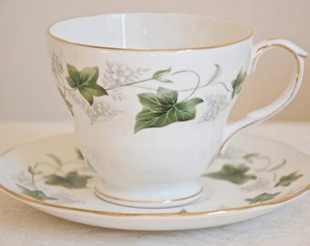 Duchess Ivy vintage white teacup or coffee cup with saucer. Bone china England. Ideal for Tea & Coffee lovers, tea party, housewarming