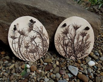 Clay Plaques/Handmade/Pair/Pressed Flower Art/Signed/Wildflowers/Wall Decor