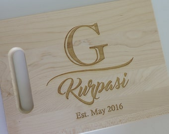 5th Anniversary Wood Gift Cutting Board with Great Design on Vermont Maple, Made & Engraved in the USA- Personalized Wooden Cutting Board