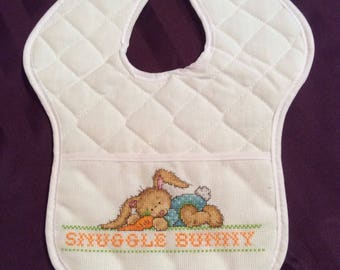 Cross-Stitched Baby Bib with Bunny