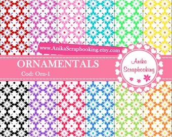 Digital Papers Ornamentals  - Scrapbook papers-  Digital Backgrounds - Decorative paper - COD: Orn-1