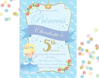 Girls Cinderella Invite | Princess | Birthday Party Invitation | Digital Download | Printable Customised Personalised Invite