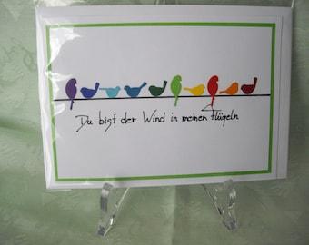 Birthday card, greeting card, birds, birds on a wire, green