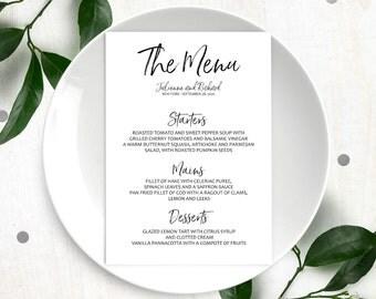 Printable Custom Menu-Stylish Hand Lettered Calligraphy Wedding Menu-DIY Handwritten Style Wedding Reception Menu Cards-Menu Template