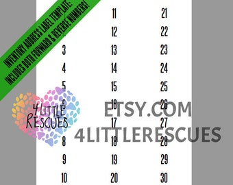 Forward AND Reverse/Mirror Image Labels Tags Numbers 1-500 | Leggings Stickers | Live Facebook Sales | 30 per page | Avery 5160