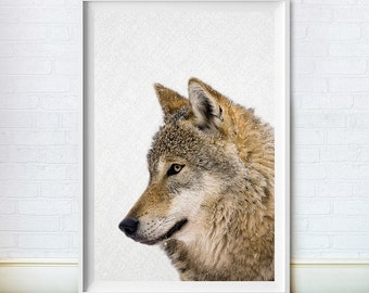 Wolf Print, Animal Art, Printable Large Poster, Colour Photography, Instant Digital Download, Woodland Wall Decor, Nursery Art
