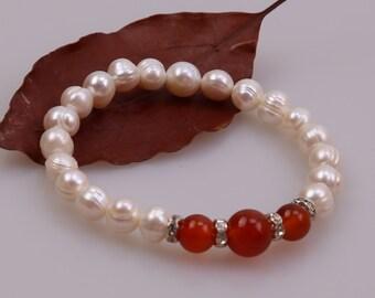 Freshwater Pearl Bracelet, Women Stretch Beaded Bracelet,Adjustable Bracelet,Girls Wristband with Freshwater Pearls,Agate Bracelet,Natural