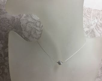 Ras neck in Silver 925/1000 Disco ball white Crystal Necklace.