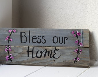 Bless Our Home sign, wall hanging, home decor, repurposed wood