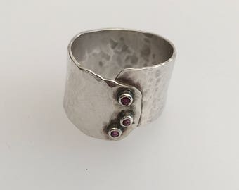 Sterling Silver hammered ring with 3 rubies