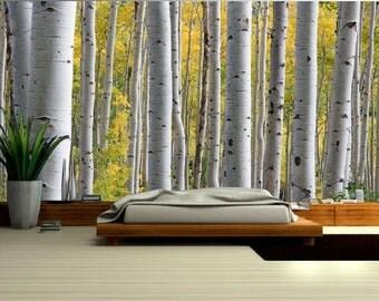Forest MURAL, birch wallpaper, birch wall mural, self-adhesive vinly, birch wallpaper, birch forest wall mural, birch wall decal, forest