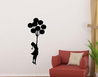 Girl With Balloons Wall Decal Banksy Supergirl Baby Gift Vinyl Sticker Home Room Bedroom Decor Nursery Poster Art Mural Custom Print 190