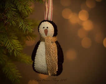 Handmade Christmas Penguin Decoration - Monty - Primitive - Felt - Tree Decoration