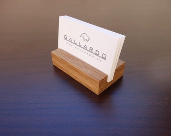 Wood Business Card Holder. Wooden Card Holder. Oak Wood Business Card Stand. Wood Card Holder. Office Card Display. Personalized Card Holder