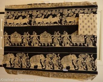 Hand printed Kalamkari saree
