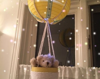 Up Up & Away! Hot Air Balloon! Vintage Bear Yellow Collection!