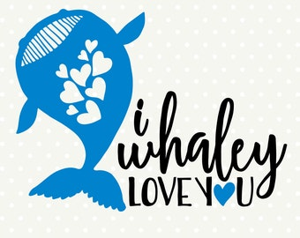 Love SVG, Whale Silhouette file, Whale DXF file, Kids Shirt SVG file, Valentines svg, Commercial cut file, silhouette cut file
