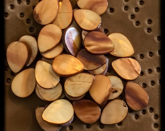 Mother of Pearl Shell Beads - Brown - 30 + Beads - 12x16mm C20