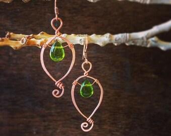 Leaf-inspired Copper & Glass Earrings