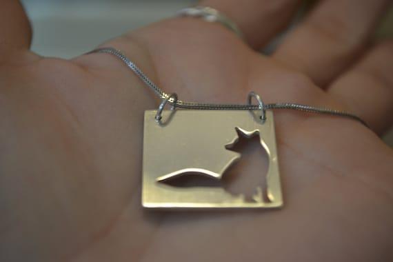 10% XMAS SALE Silver Mr Fox pendant