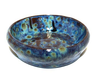 Beautiful small variegated blue, green and brown dish