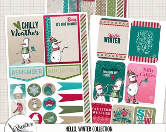 Hello, Winter Printable Planner Stickers, Journal Cards and Pocket Scrapbooking Goodies