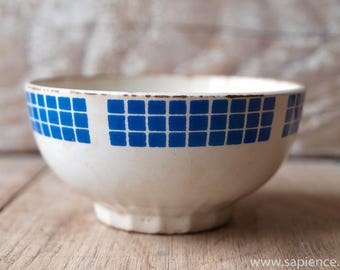 Sweet french antique blue checkered Cafe au lait bowl