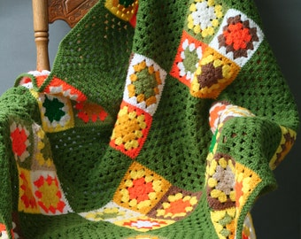 Vintage 70s Granny Square Afghan Throw Green,Orange and Yellow