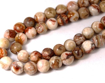 "Two 15"" strands Mexican Crazy Lace Agate Beads 6mm"