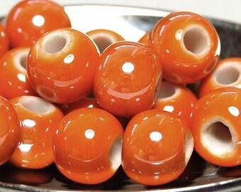50pc Orange Porcelain, 8mm