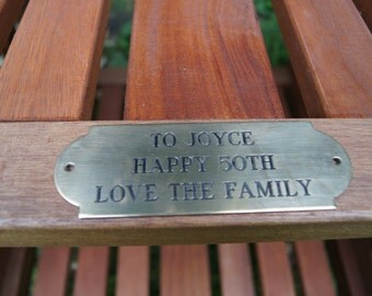 Love seat, teak oiled hardwood with an engraved  brass plate - your message! A unique special gift that will last for years!
