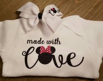 Made With Love Onesie and Matching Hair Bow