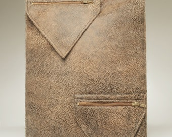 """Vintage Inspired Designer Tan Leather Crossover Satchel Light and Easy for Travel """"Sofia"""""""