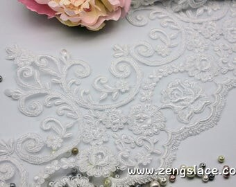 White Alencon bridal trim with floral embroidery/Scalloped Lace/Wide Lace Trim/French Lace/Wedding Lace/Bridal Lace/Lace by the yard, AL-08