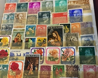 ON SALE Vintage Full Page of Stamps from around the world