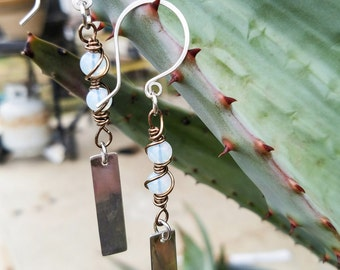 Wire Wrapped Opalite Earrings with a Sterling Silver Dangle