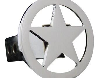 "Chrome Circle Star Hitch Cover, 2"""