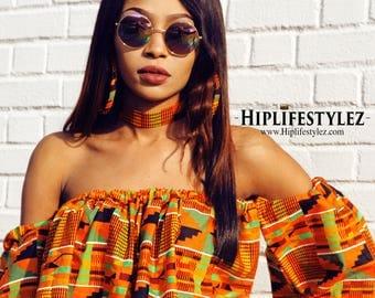 Off the Shoulder African Kente Print Flare Top