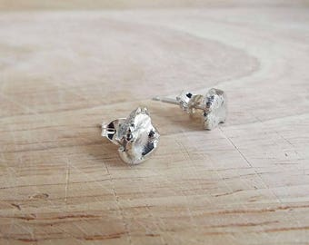 Silver studs. Molten Metal Organic. Recycled Sterling Silver Stud Earrings.  Handmade in Scotland. Free UK delivery.