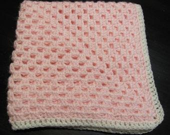 Hand Crochet Pink Baby Blanket, Hand Crochet Granny Square Baby Blanket, Crochet Doll Blanket, Baby Shower Gift, Crochet Baby Afghan