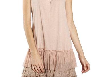 Slip Dress w/ Layered Ruffle Btm