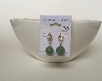 Sterling Earrings with Green Gemstone-Sale
