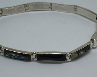 950 Sterling Mexico Abalone and ONYX Bracelet, thin, delicate and Lovely