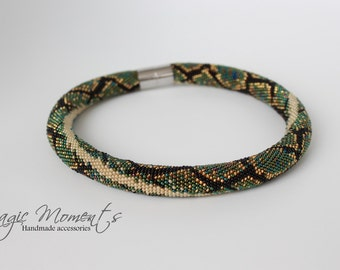 Crochet bead rope snake necklace - phyton snake idea for gift - handmade snake for woman