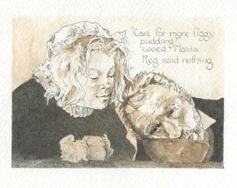 Original fine art card, A Figgy Pudding Christmas, 5 x 7 blank card, English Christmas, Christmas cards