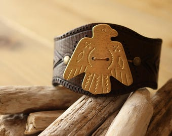 CLEARANCE - TOTEM MIND cuff leather & brass Rocknroll inspired Native American Indian Boho Hippie Chic