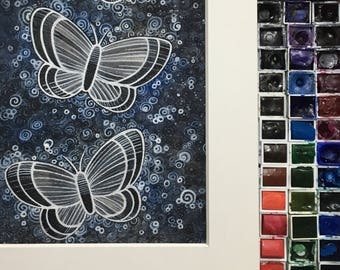 Butterfly Blues- matted painting. (Original)