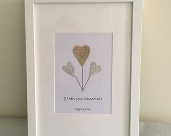 Personalised '& Then You Kissed Me' Print with Frame